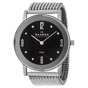 Skagen Black Dial Swarovski Stainless Steel Watch